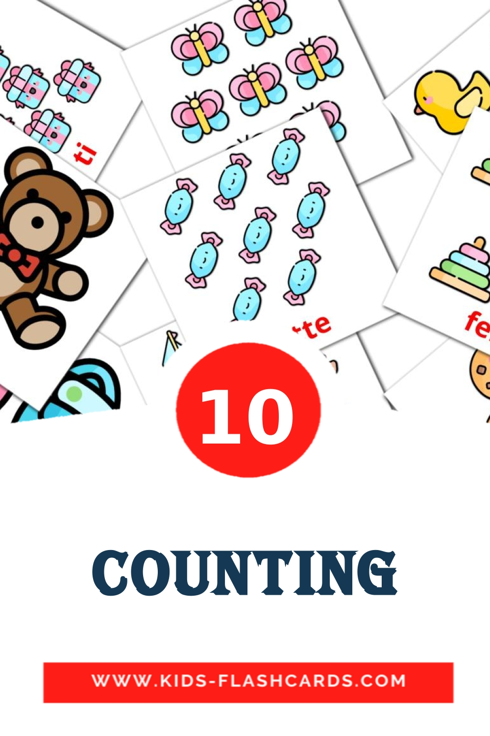 10 Counting Picture Cards for Kindergarden in dansk