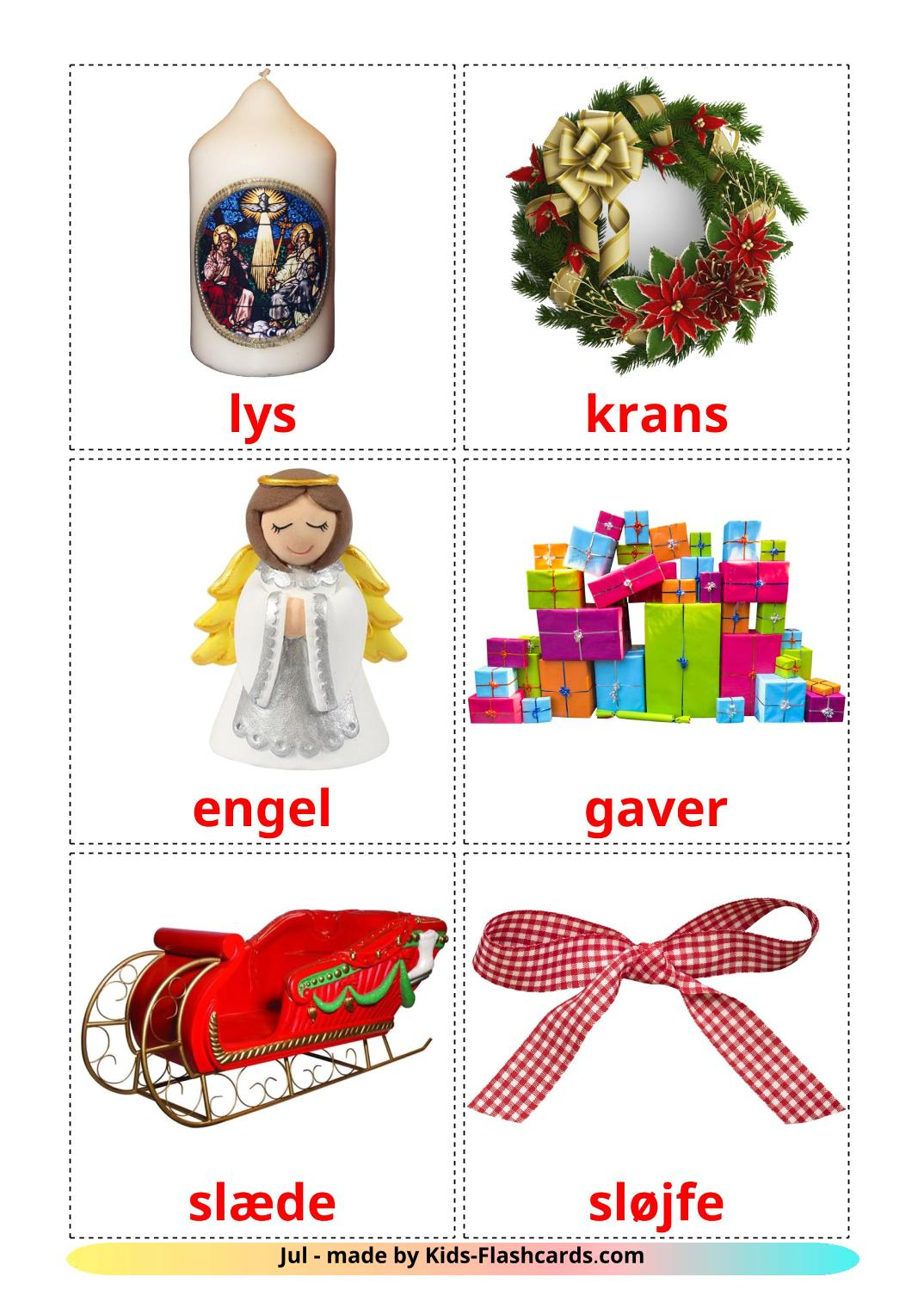 Christmas - 28 Free Printable dansk Flashcards