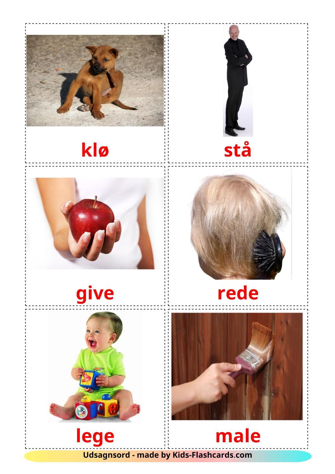 Action verbs - 55 Free Printable dansk Flashcards