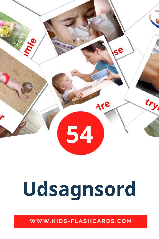 55 Udsagnsord Picture Cards for Kindergarden in dansk