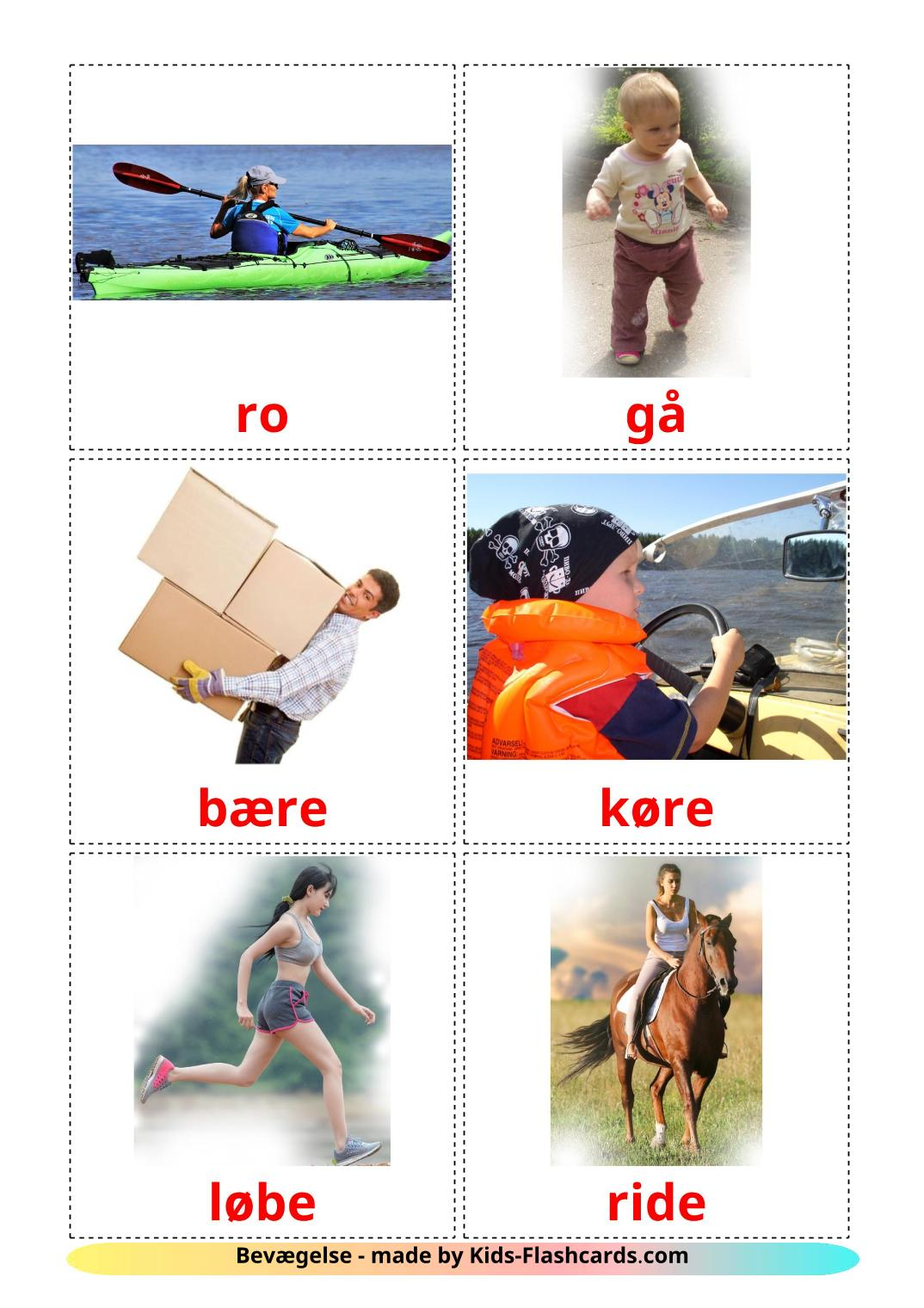 Movement verbs - 22 Free Printable dansk Flashcards