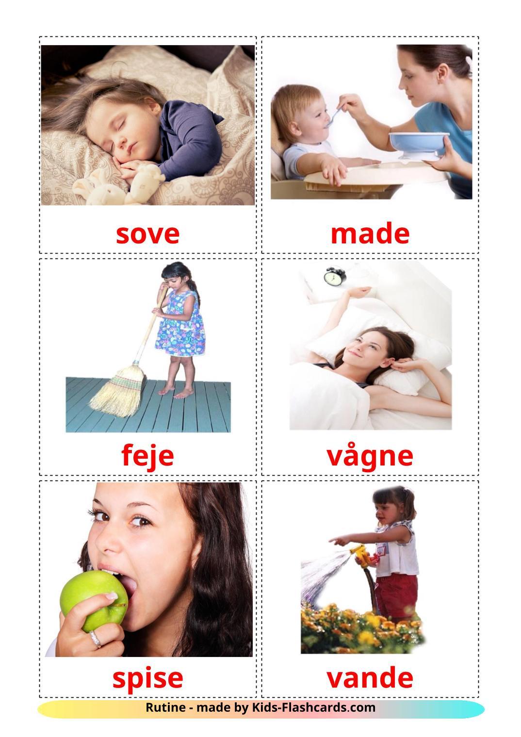 Routine verbs - 33 Free Printable dansk Flashcards