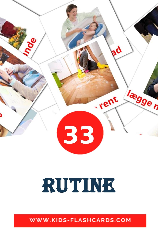 33 Rutine Picture Cards for Kindergarden in dansk