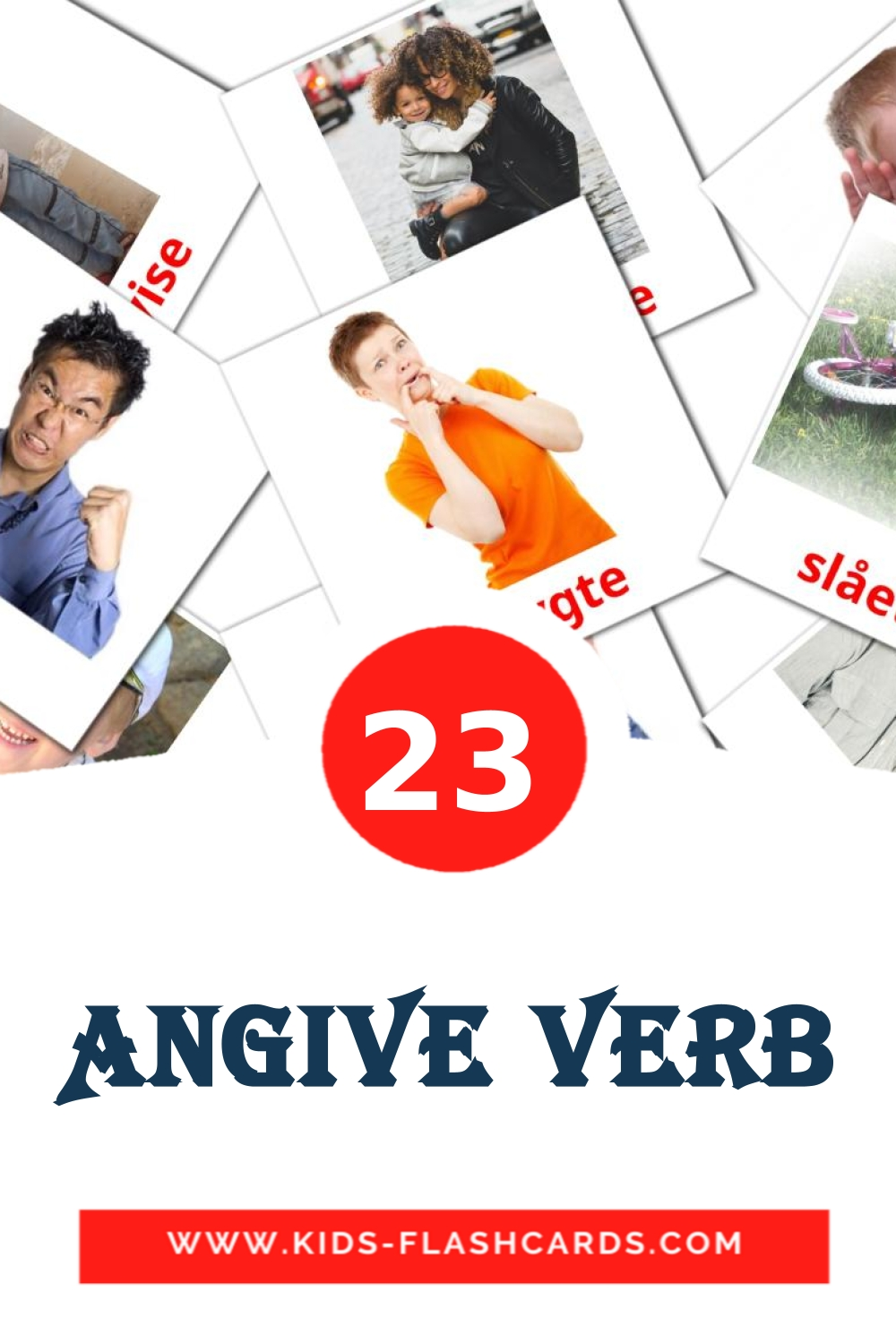 23 Angive verb Picture Cards for Kindergarden in dansk
