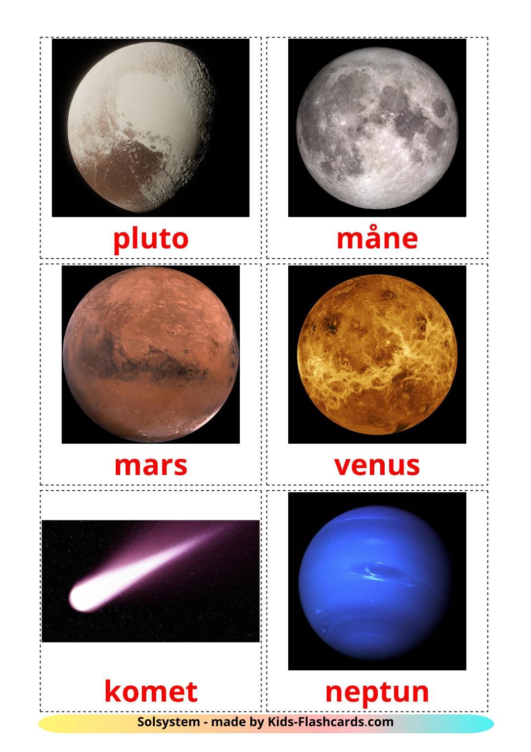 Solar System - 20 Free Printable dansk Flashcards