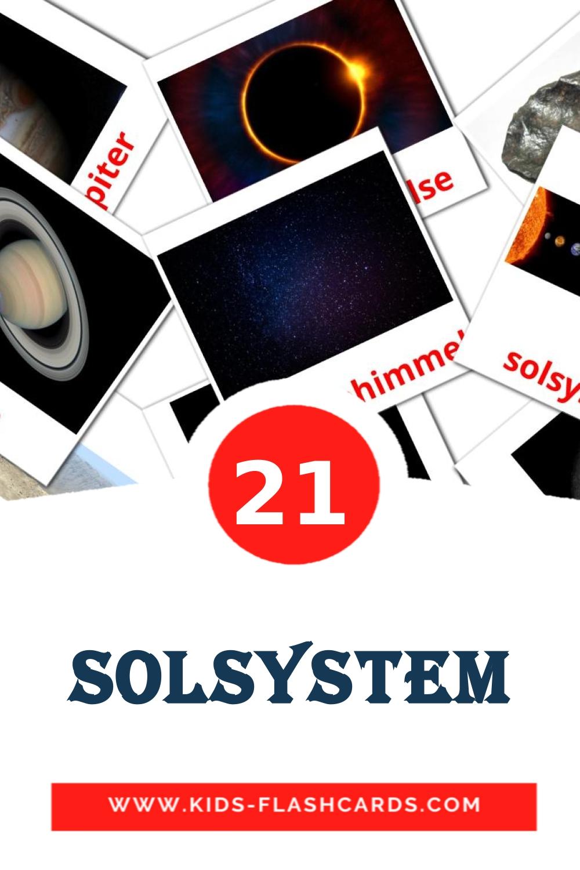 20 Solsystem Picture Cards for Kindergarden in dansk