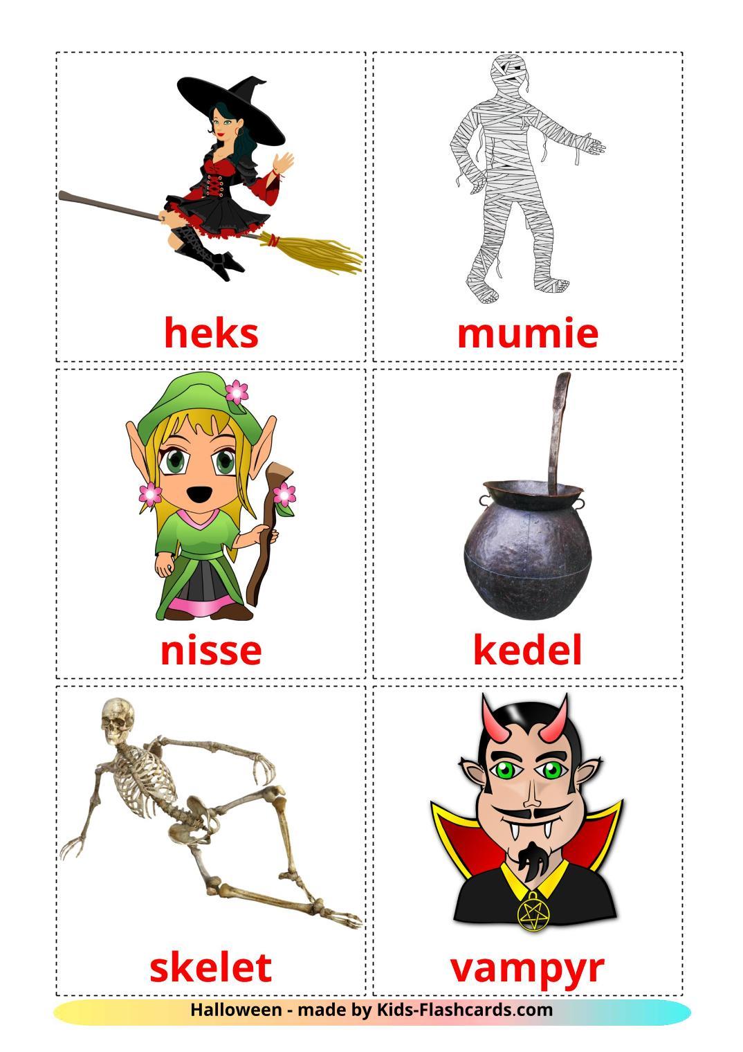 Halloween - 16 Free Printable dansk Flashcards