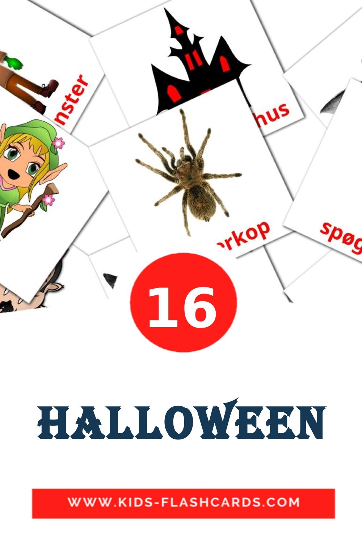 16 Halloween Picture Cards for Kindergarden in dansk