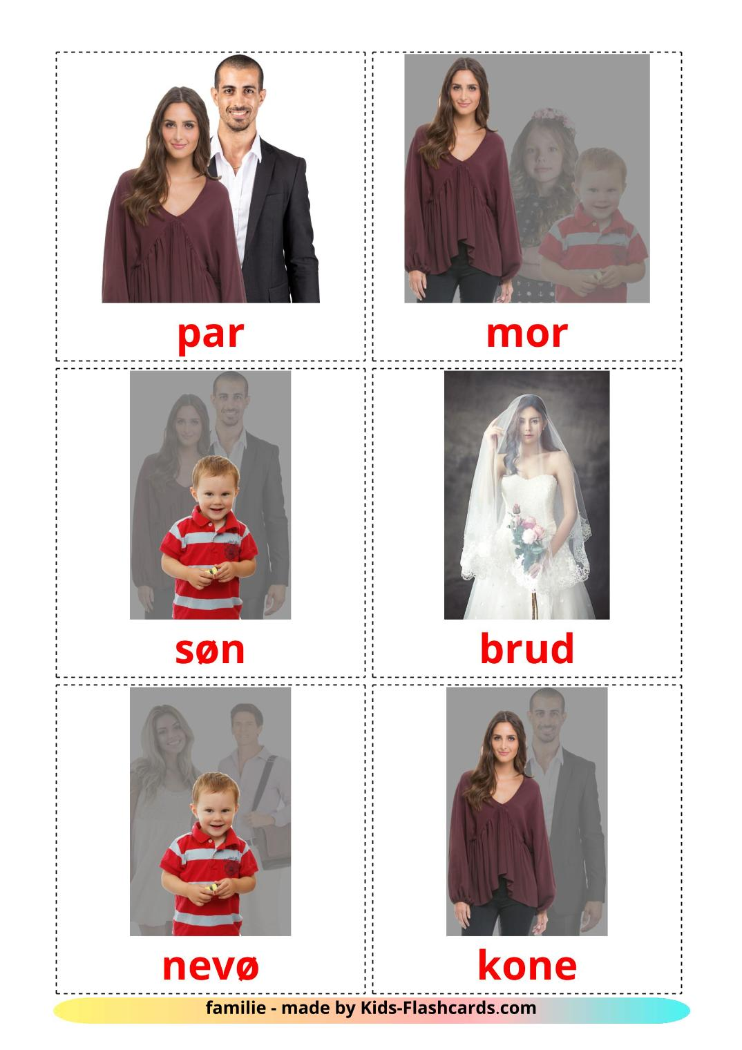 Family members - 32 Free Printable dansk Flashcards
