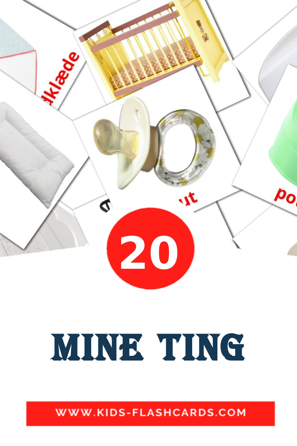 20 Mine ting Picture Cards for Kindergarden in dansk