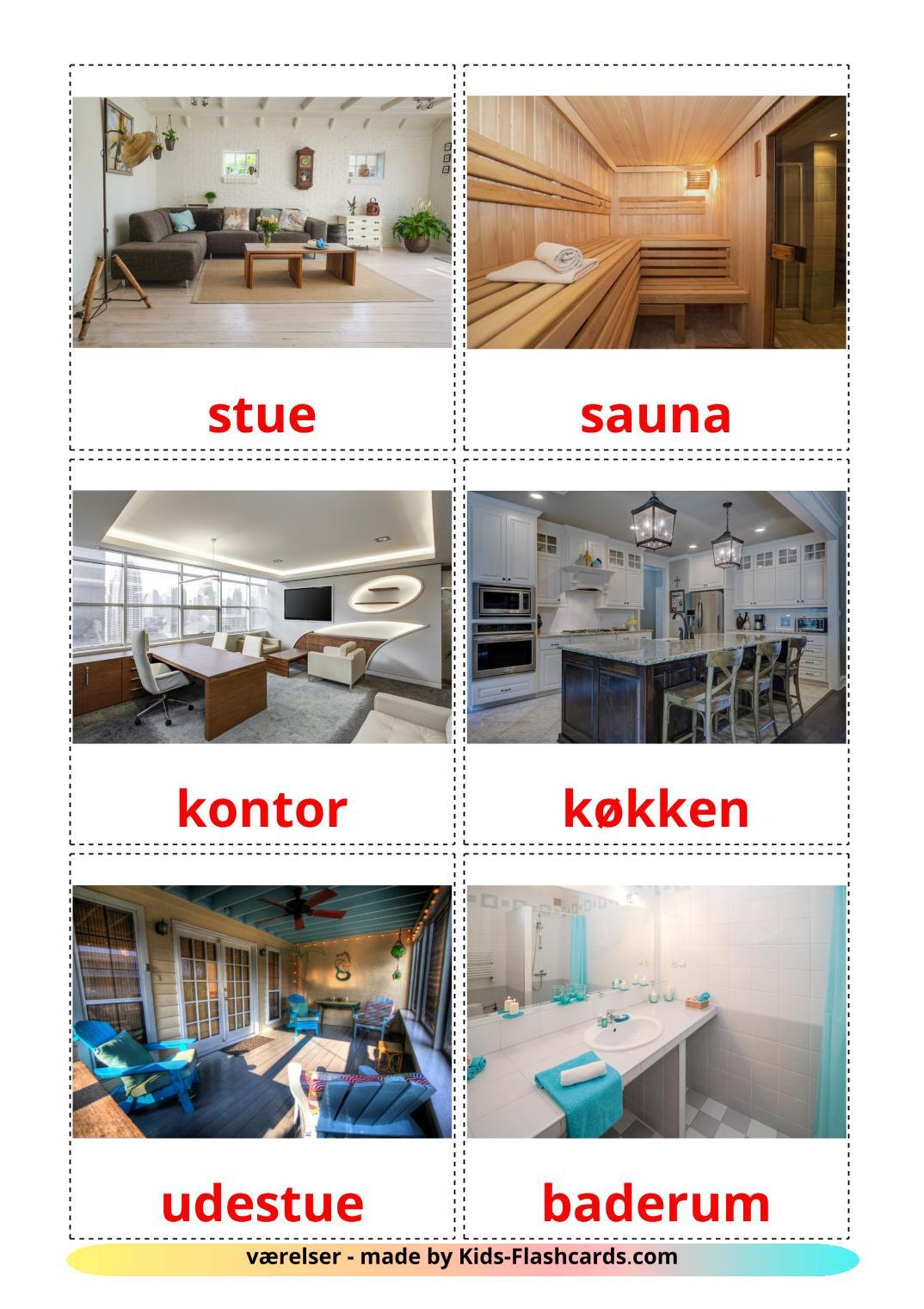 Rooms - 17 Free Printable dansk Flashcards