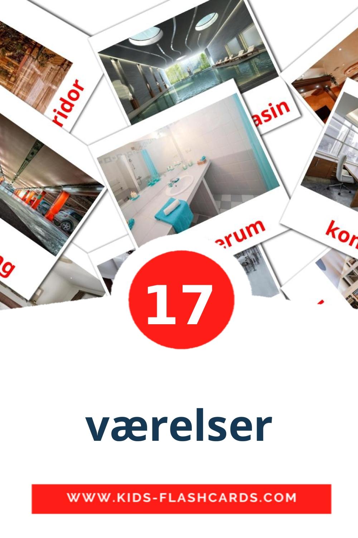 17 værelser Picture Cards for Kindergarden in dansk