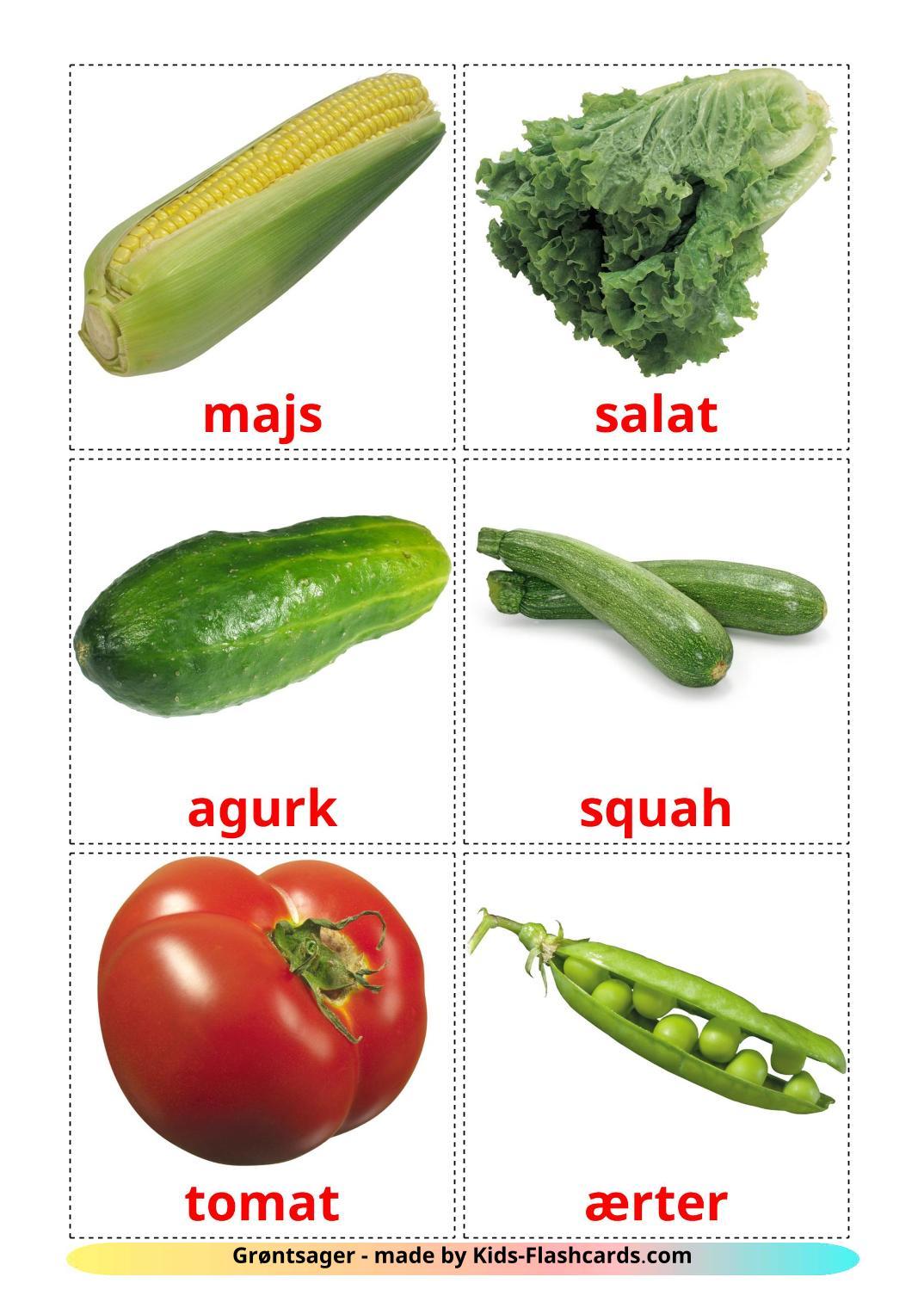 Vegetables - 29 Free Printable dansk Flashcards