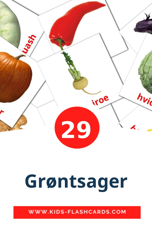 29 Grøntsager Picture Cards for Kindergarden in dansk