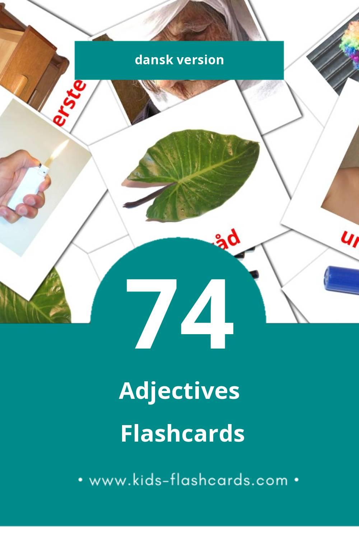 Visual Adjektiv (Tillægsord) Flashcards for Toddlers (74 cards in Dansk)