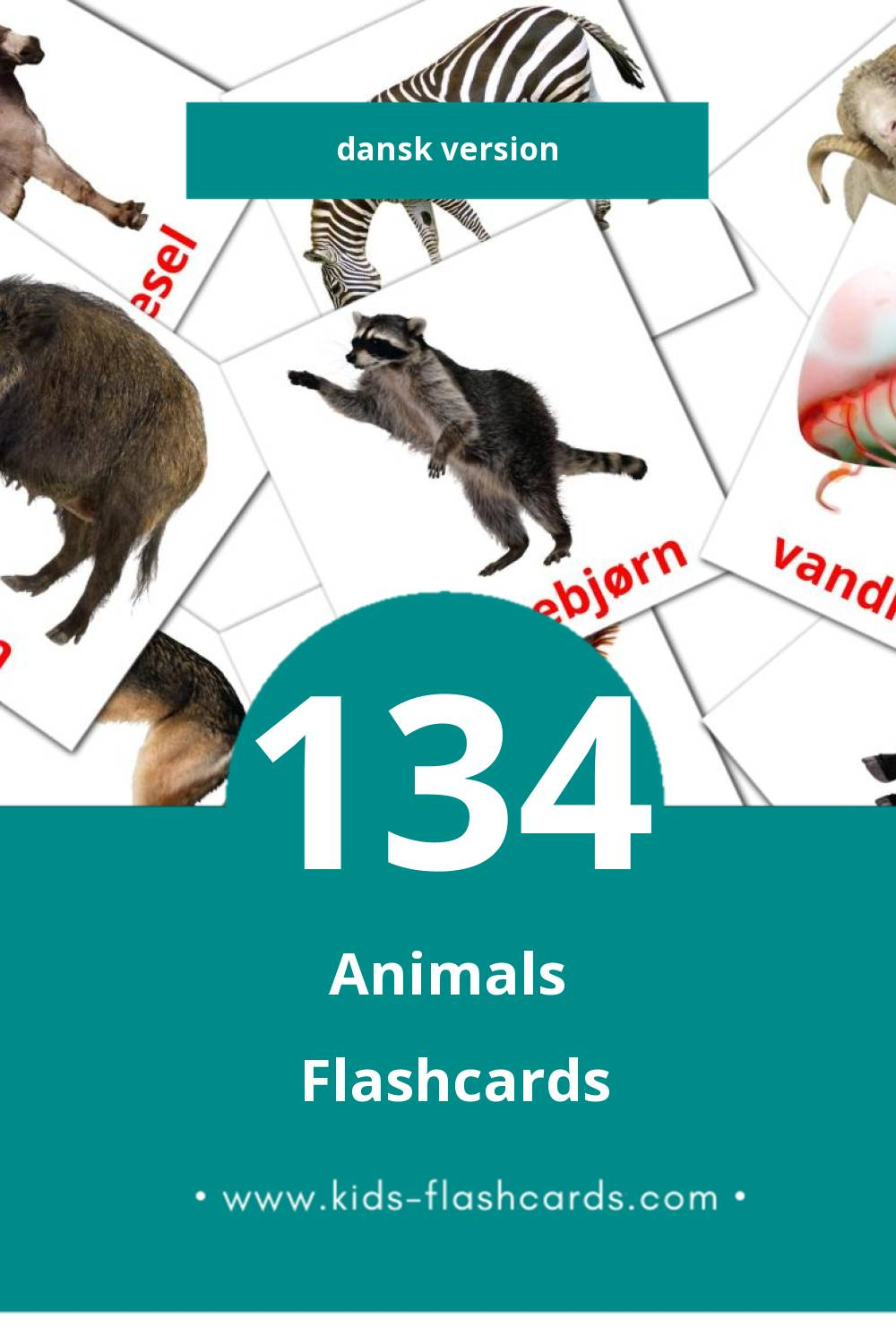 Visual Dyr Flashcards for Toddlers (134 cards in Dansk)