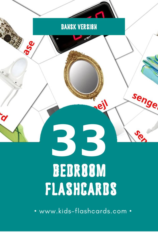 Visual Soveværelse Flashcards for Toddlers (33 cards in Dansk)