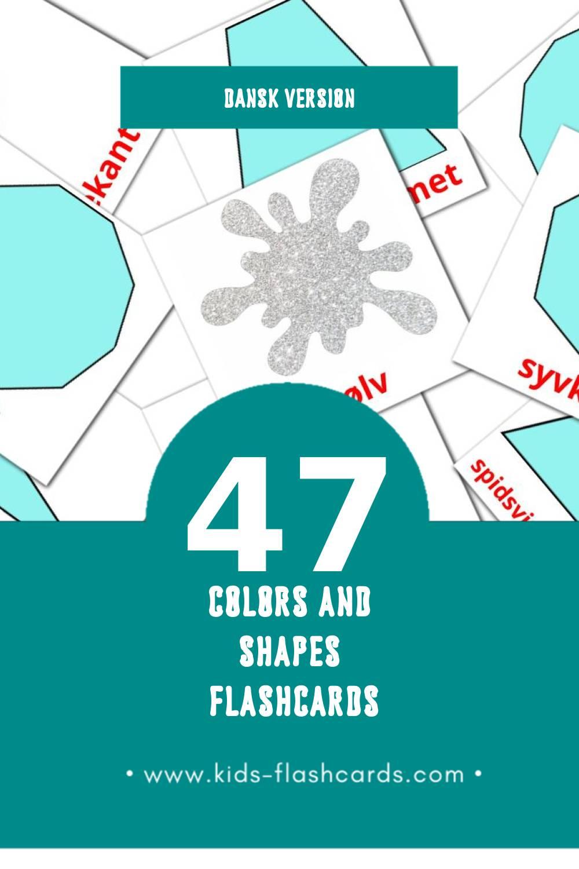 Visual Farver og forme Flashcards for Toddlers (47 cards in Dansk)