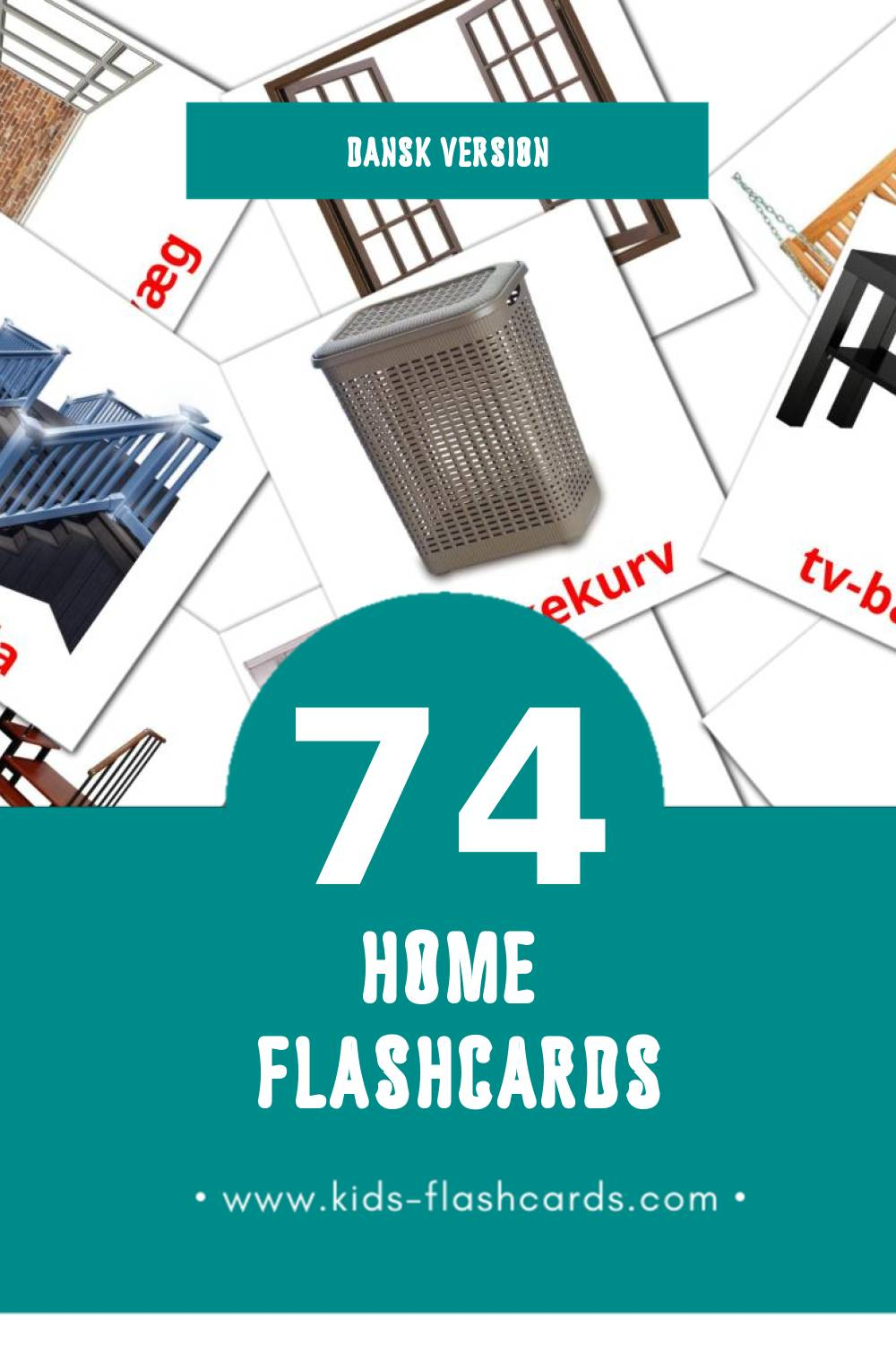 Visual Hjemme Flashcards for Toddlers (74 cards in Dansk)