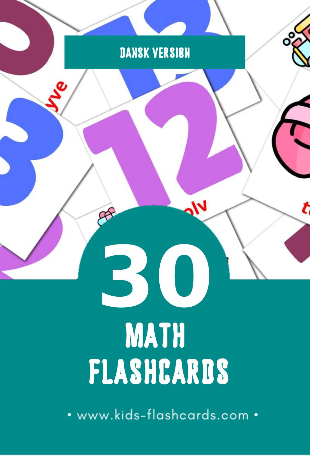 Visual Math Flashcards for Toddlers (30 cards in Dansk)