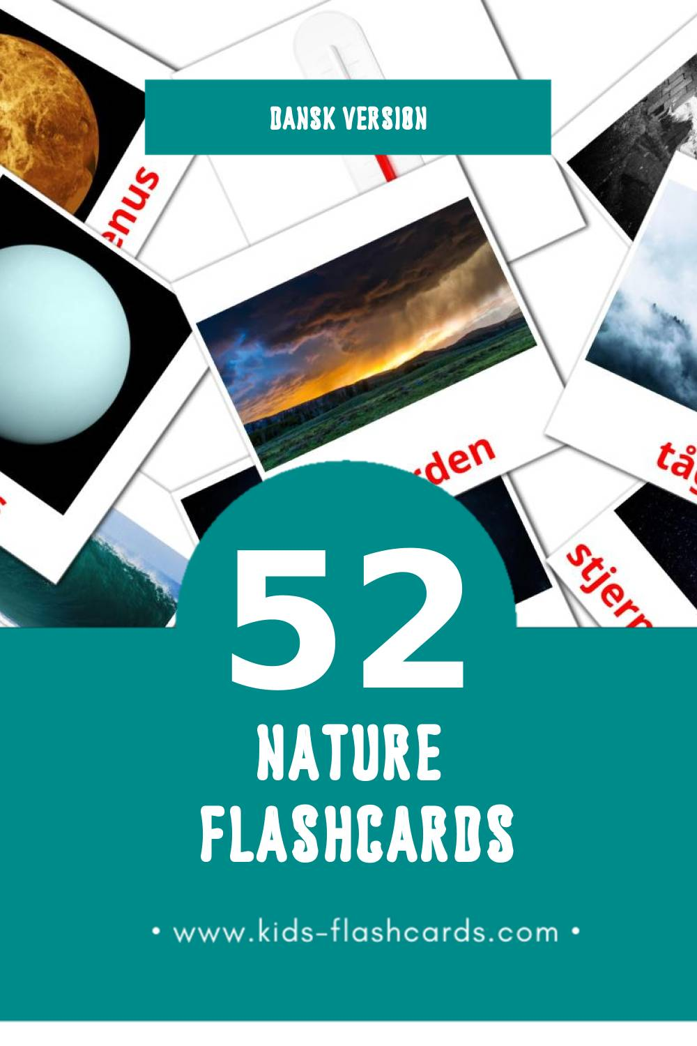 Visual Natur Flashcards for Toddlers (51 cards in Dansk)