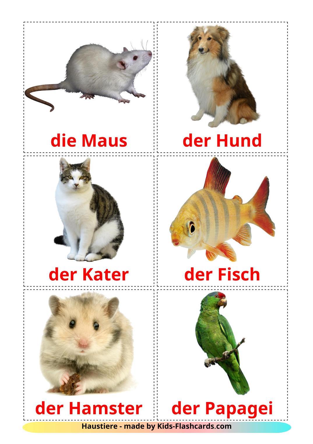 Domestic animals - 10 Free Printable german Flashcards