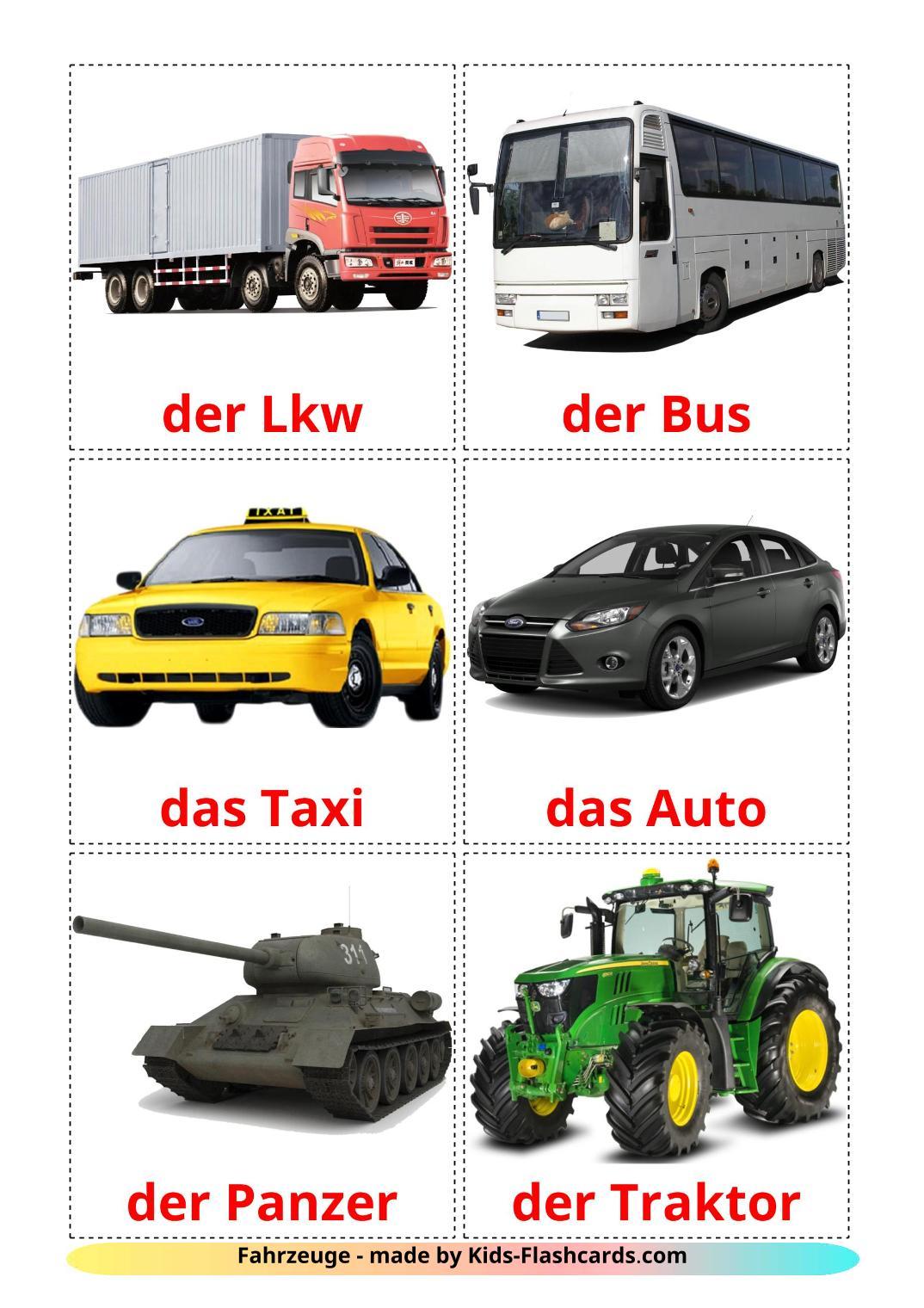 Land transport - 28 Free Printable german Flashcards