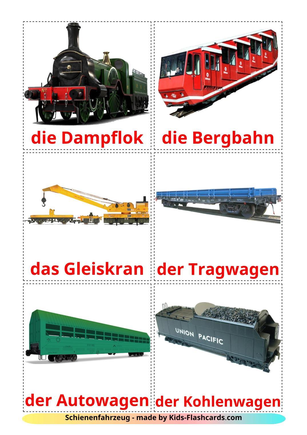 Rail transport - 18 Free Printable german Flashcards