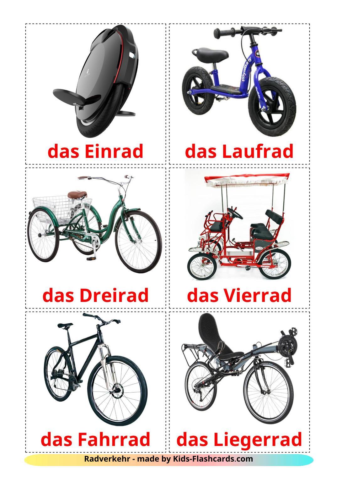 Bicycle transport - 16 Free Printable german Flashcards