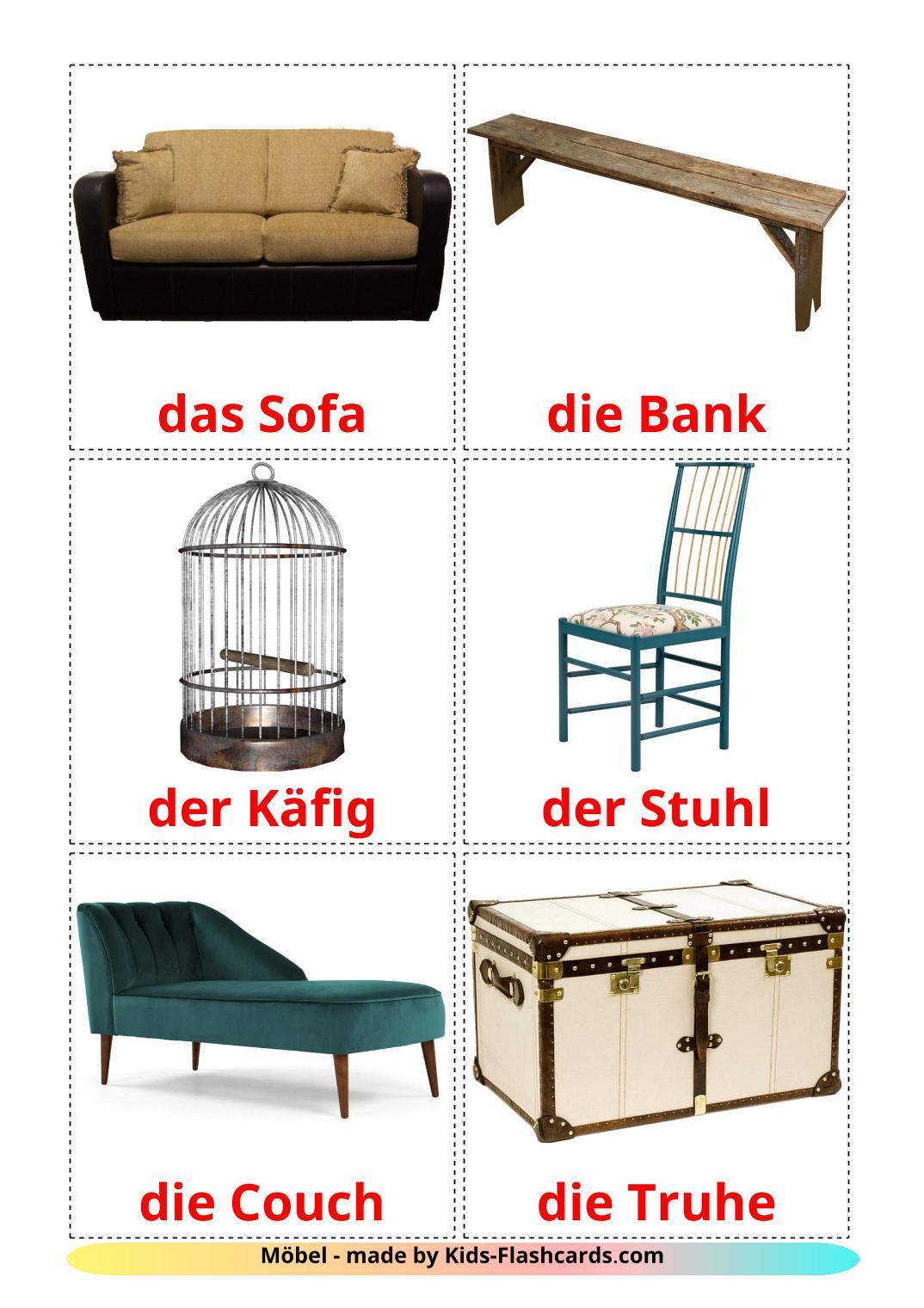 Furniture - 31 Free Printable german Flashcards