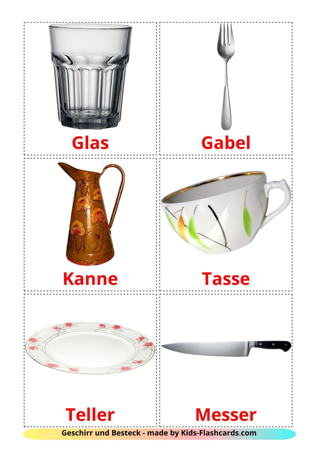 Crockery and cutlery picture cards for Kindergarden in german