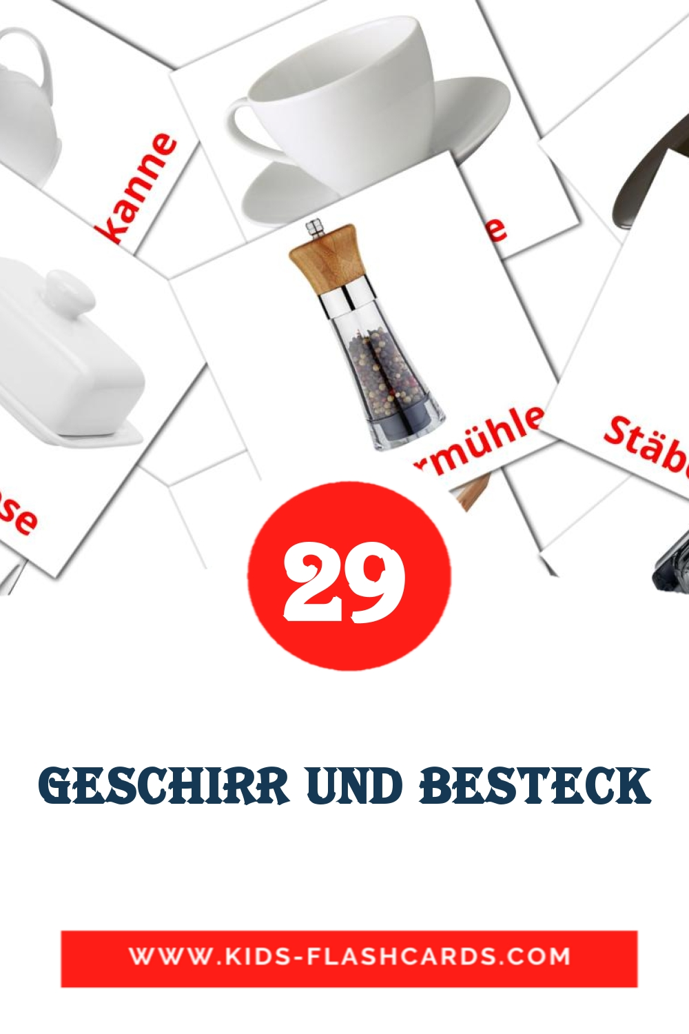 Geschirr und Besteck - free cards in german