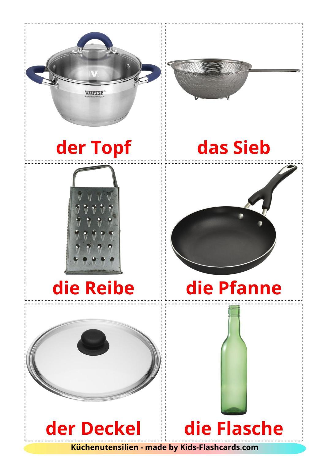 Kitchenware - 35 Free Printable german Flashcards