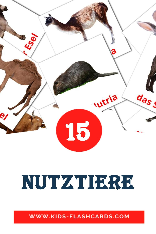 15 Die Nutztiere  Picture Cards for Kindergarden in german