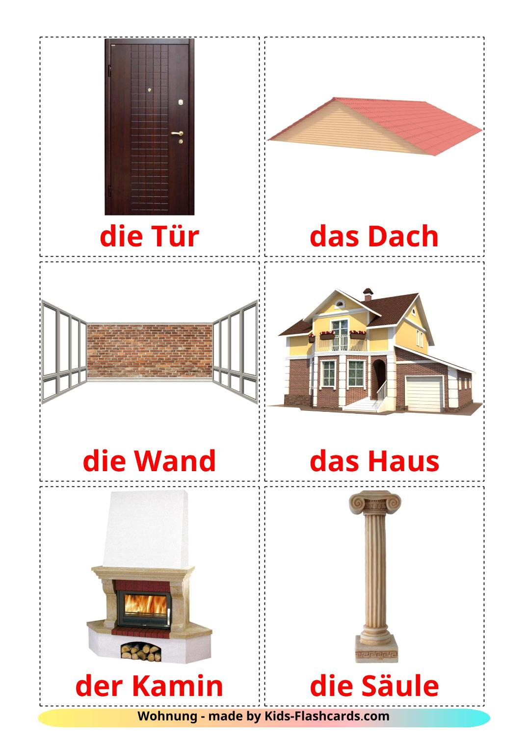 House picture cards for Kindergarden in german