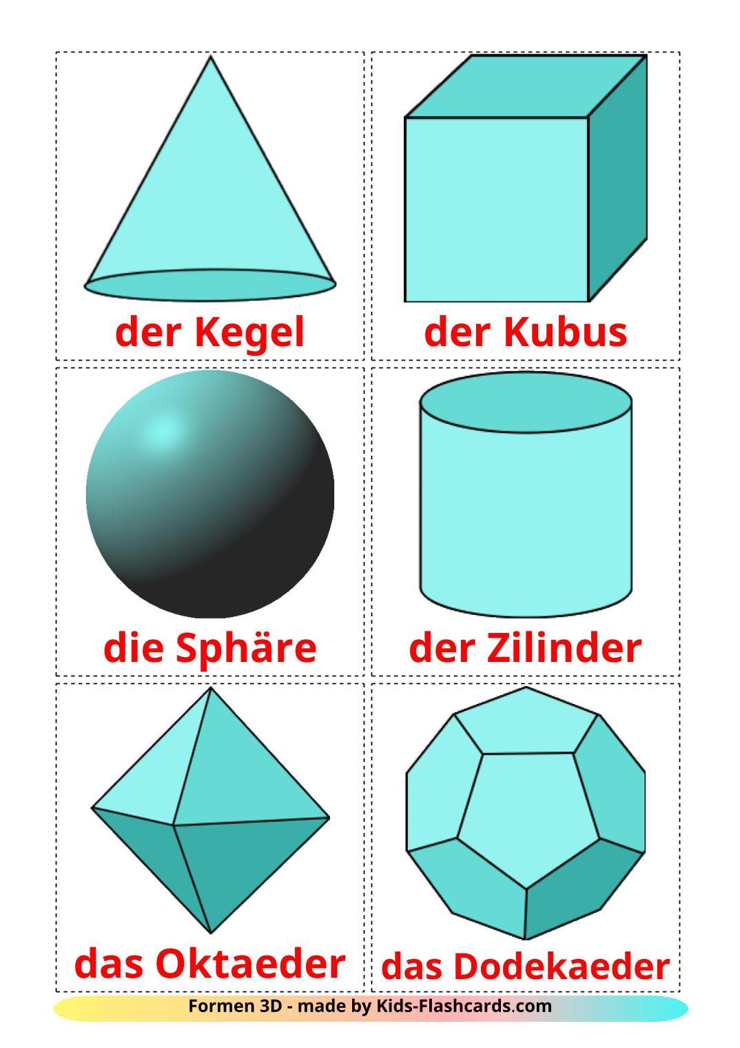 3D Shapes - 17 Free Printable german Flashcards