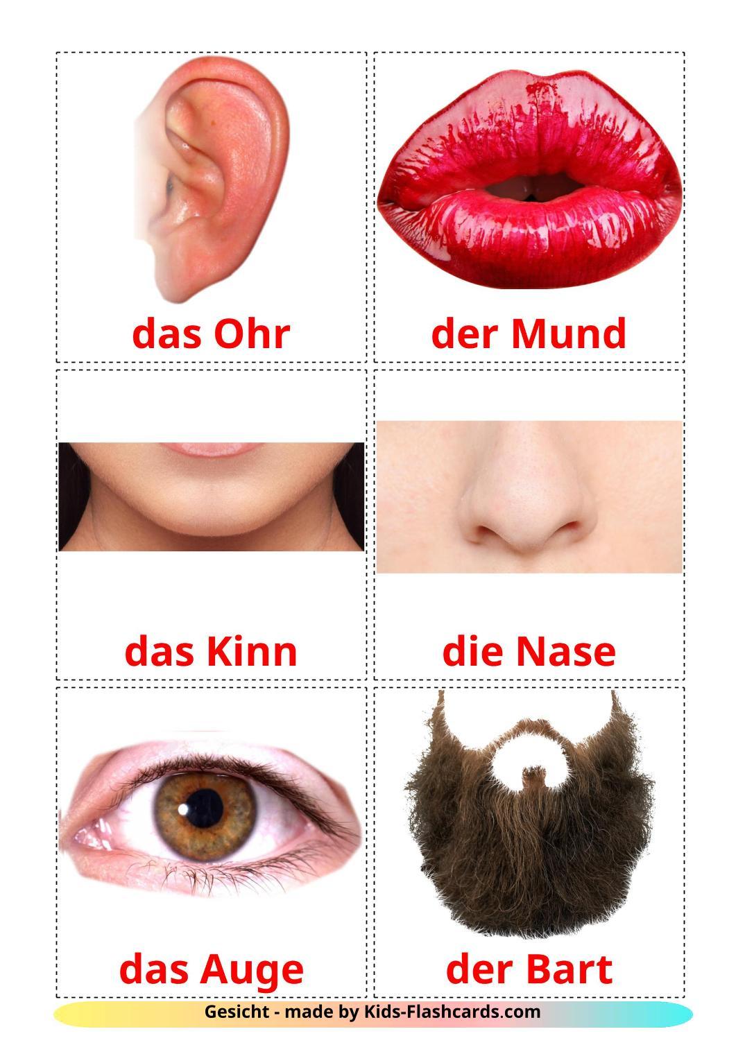 Лицо - 20 Карточек Домана на немецком
