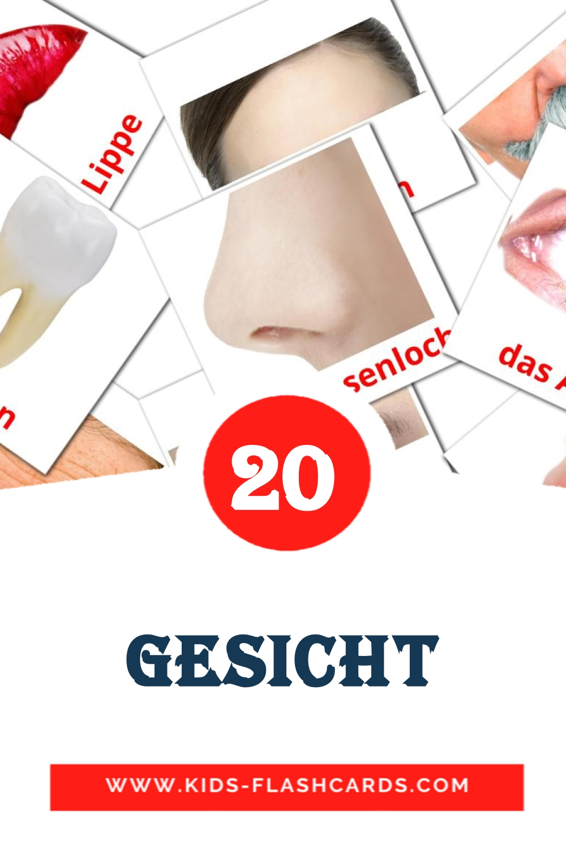 Das Gesicht на немецком для Детского Сада (20 карточек)