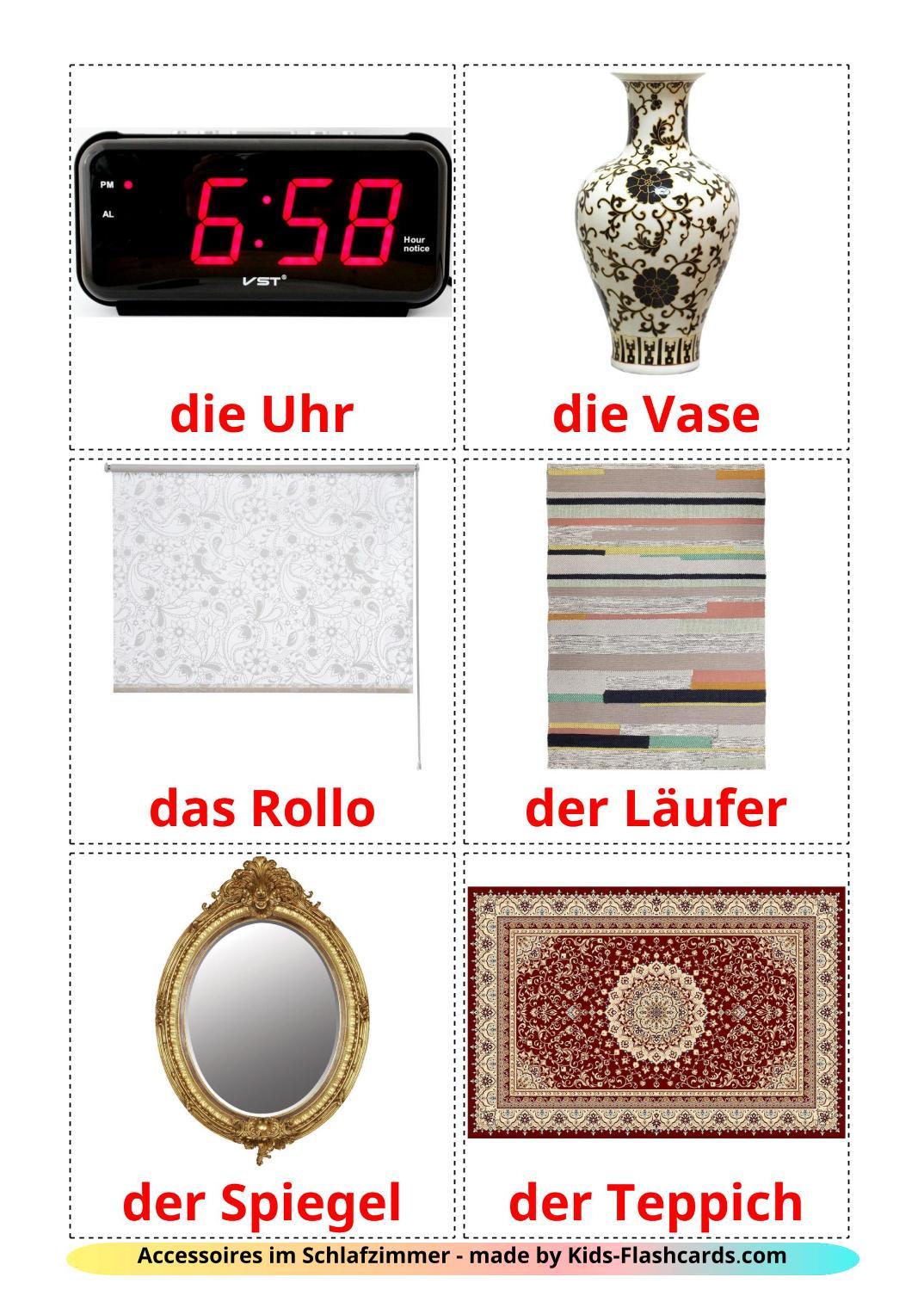 Bedroom accessories - 18 Free Printable german Flashcards