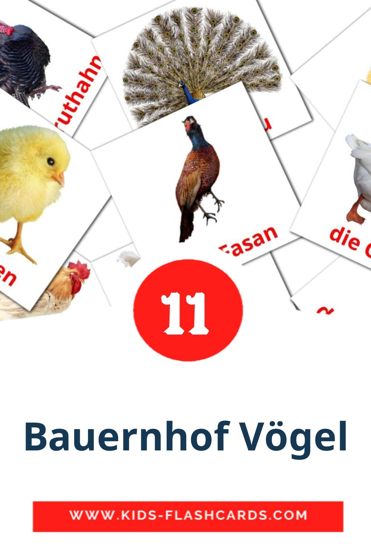 11 Die Bauernhof Vögel  Picture Cards for Kindergarden in german