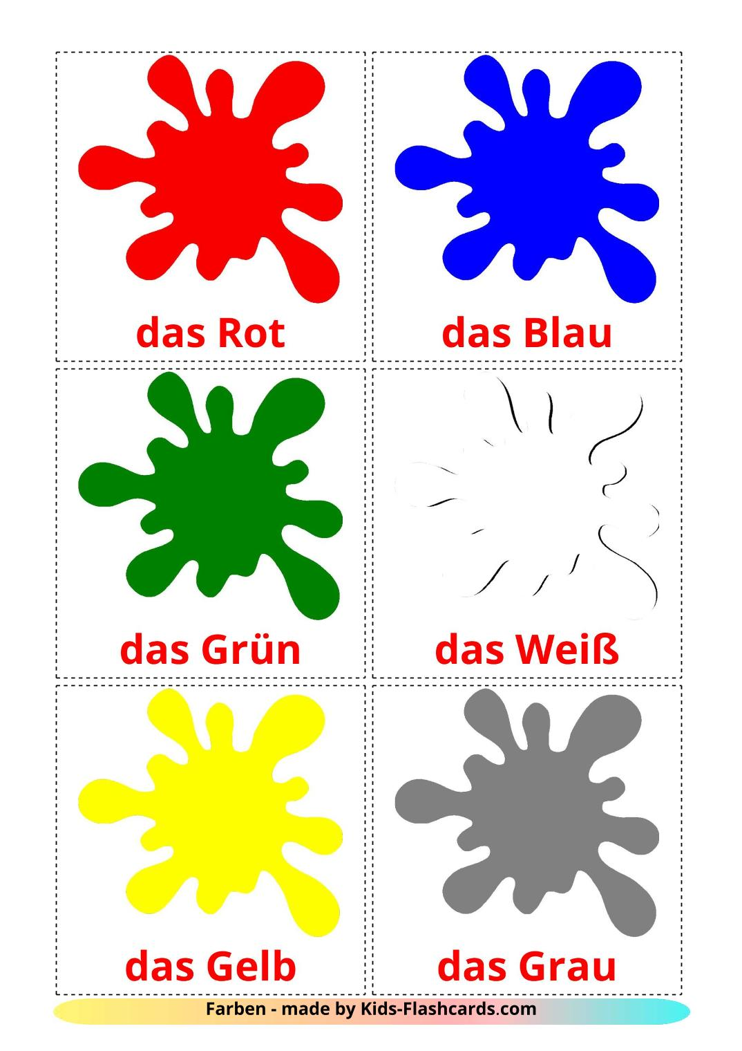 Base colors - 12 Free Printable german Flashcards