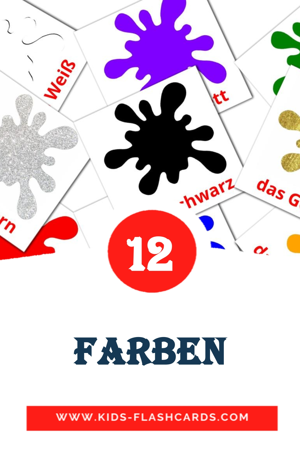 12 Grundfarben Picture Cards for Kindergarden in german