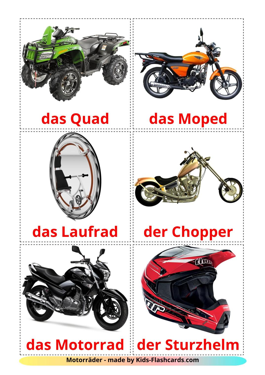 Motorcycles - 14 Free Printable german Flashcards