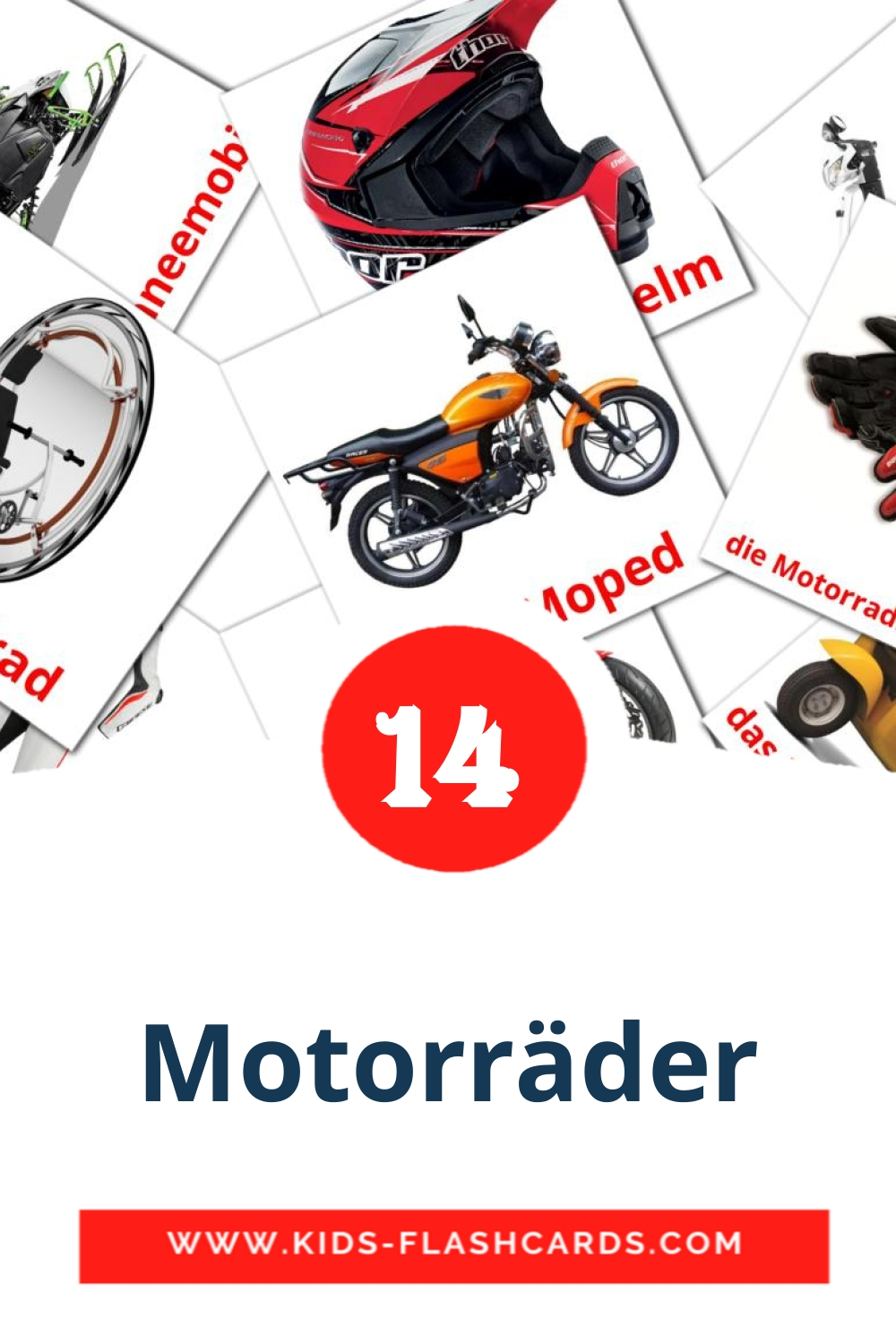 14 die Motorräder Picture Cards for Kindergarden in german