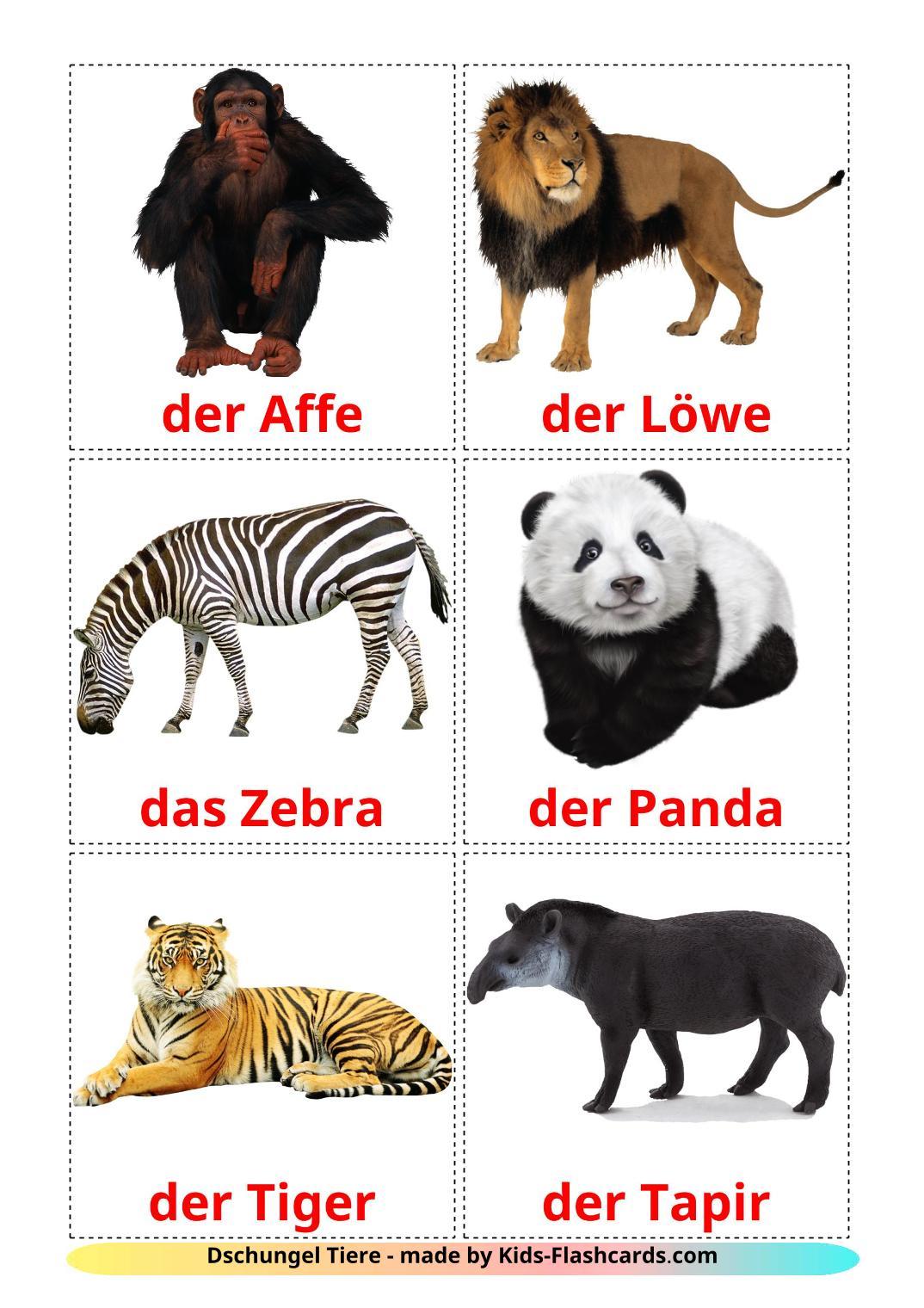 Jungle animals - 21 Free Printable german Flashcards