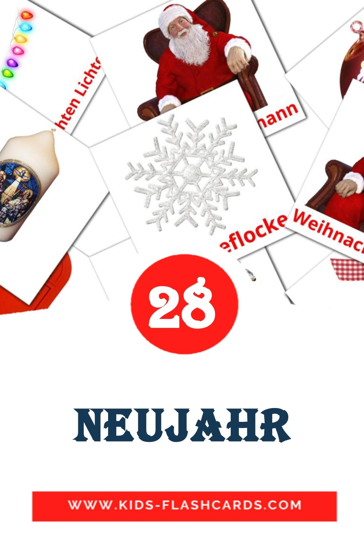28 Neujahr Picture Cards for Kindergarden in german