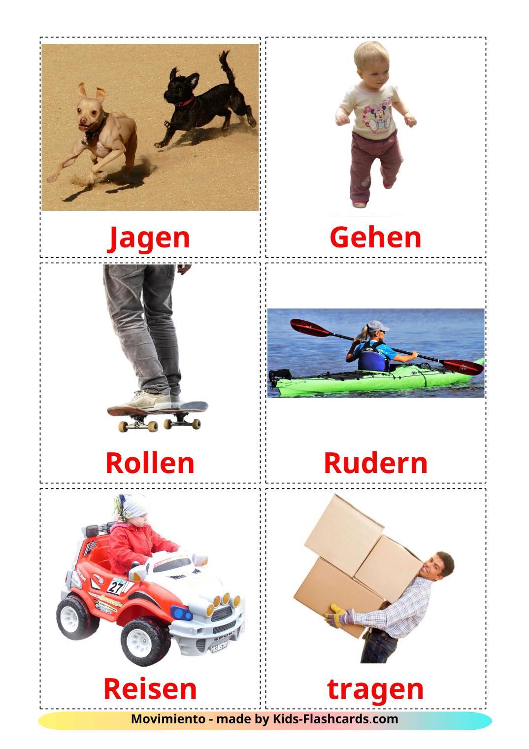 Movement verbs - 22 Free Printable german Flashcards