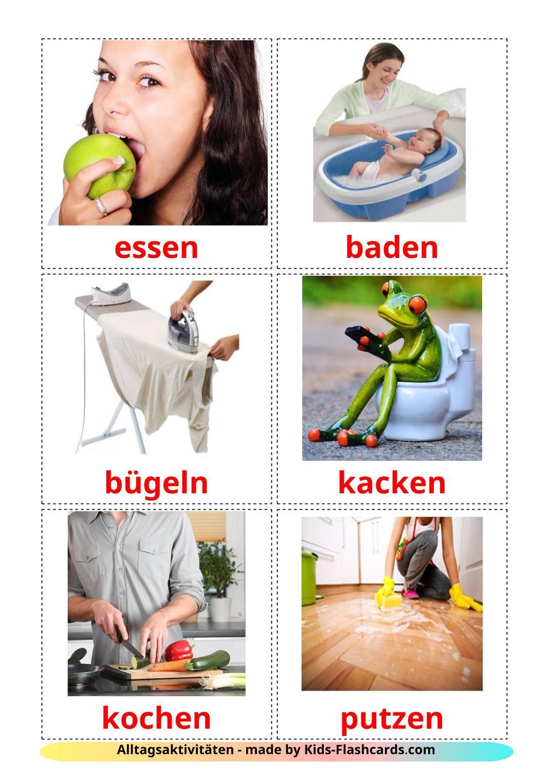 Routine verbs - 33 Free Printable german Flashcards