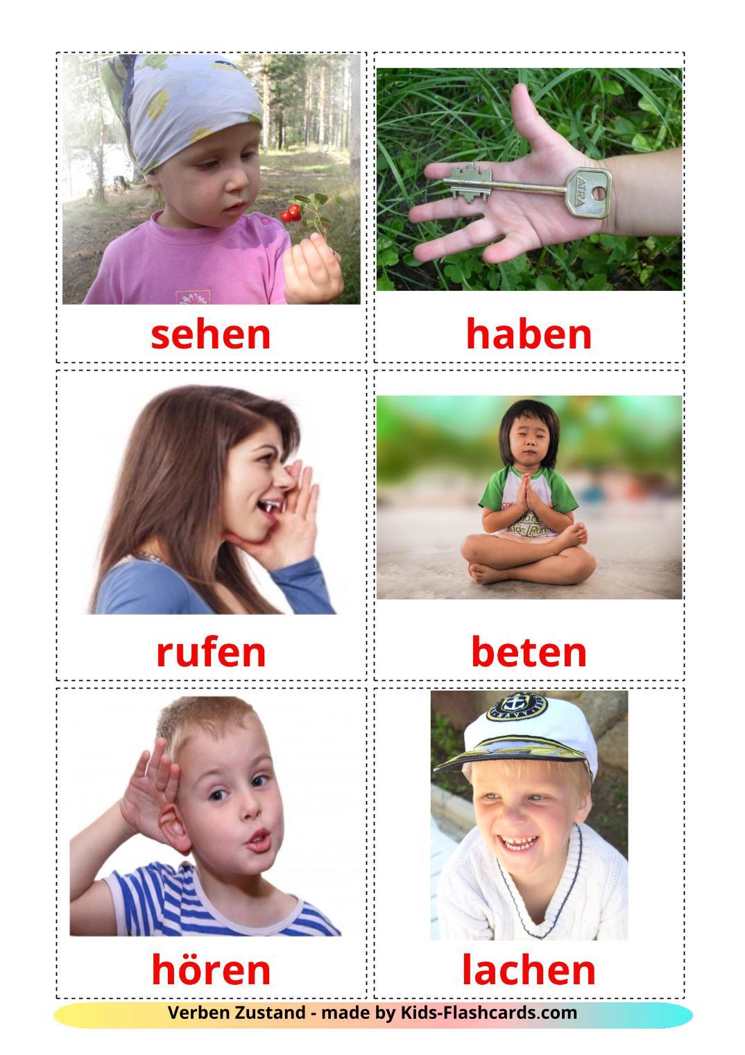 State verbs - 23 Free Printable german Flashcards