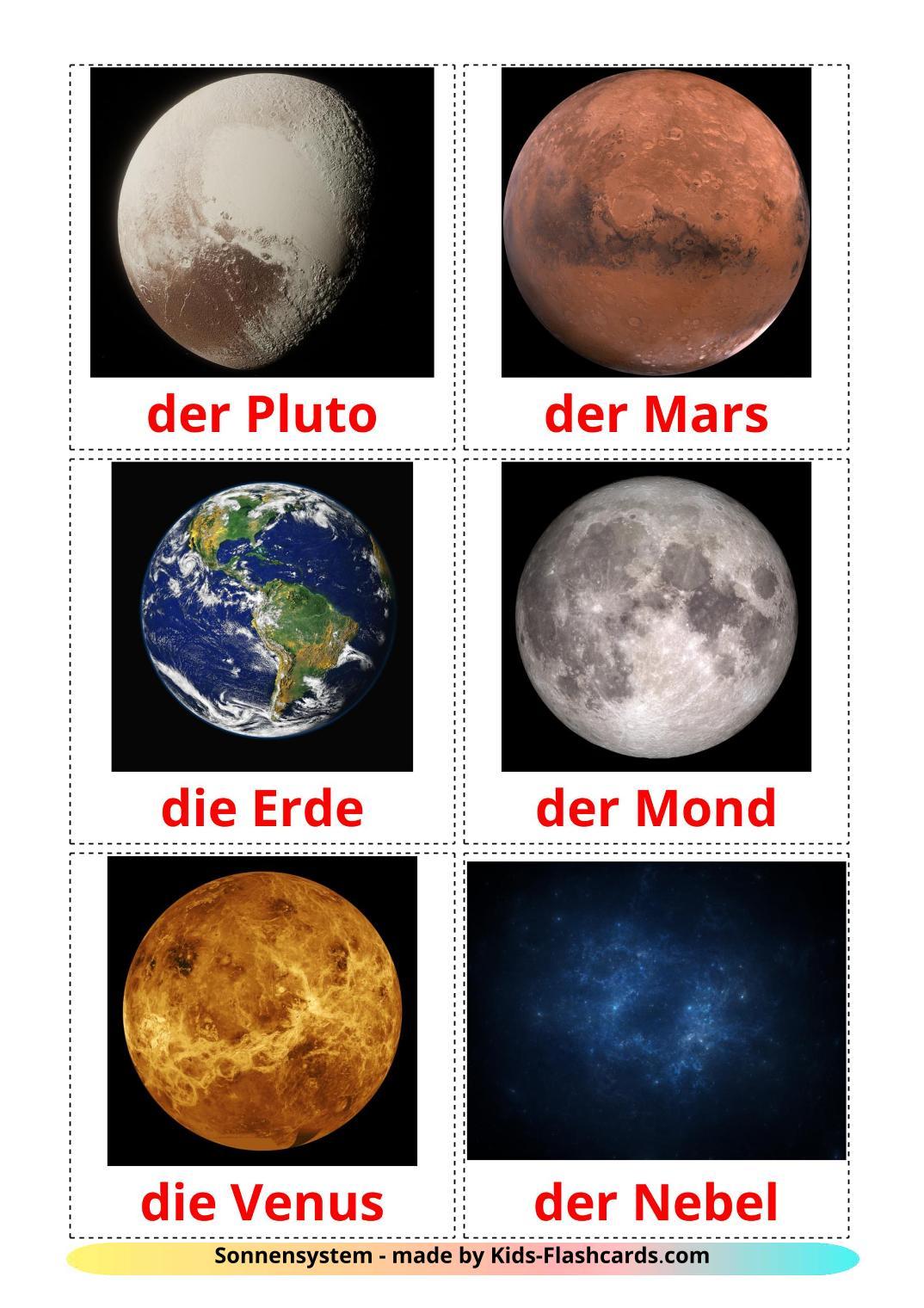 Solar System - 20 Free Printable german Flashcards